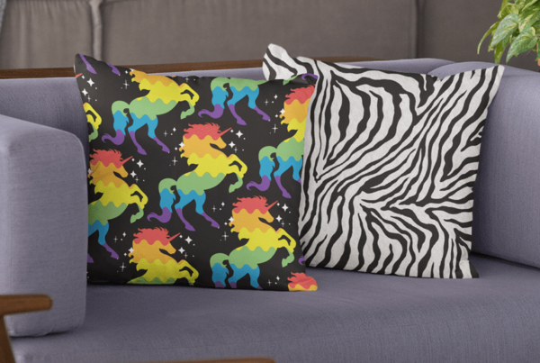 pattern design and animal print pillows living room