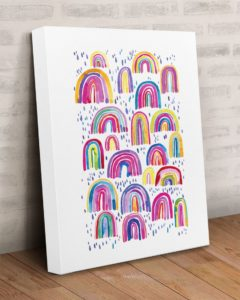 Colorful Watercolor Rainbows Gallery Wrapped Canvas Prints