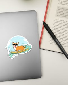 Corgi Dog Surfing Sticker
