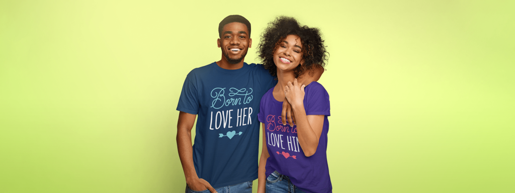 Couple wearing couple design printed tees