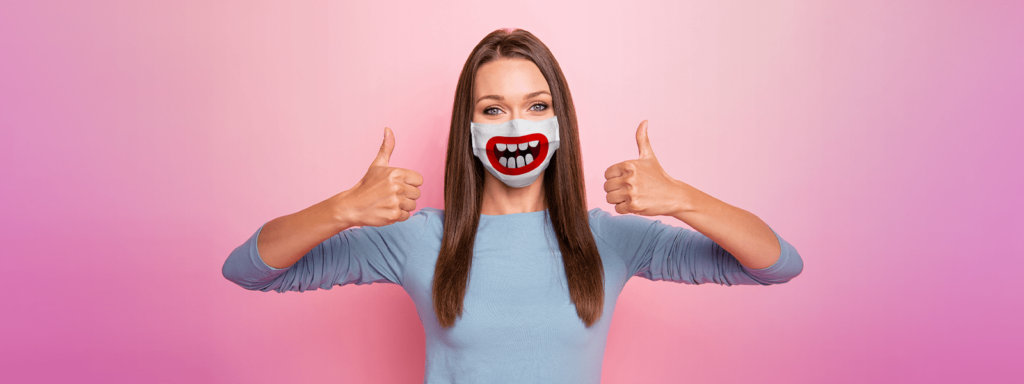 Woman wearing Funny Smile Face Mask