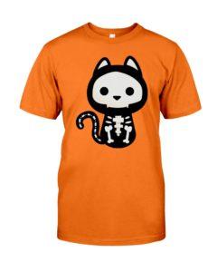 Cat skeleton halloween shirt