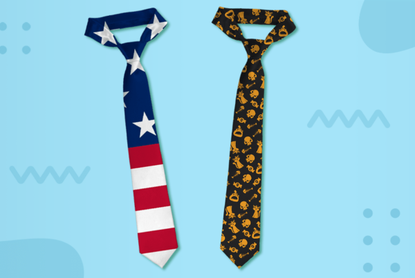 American flag printed tie and Halloween design tie