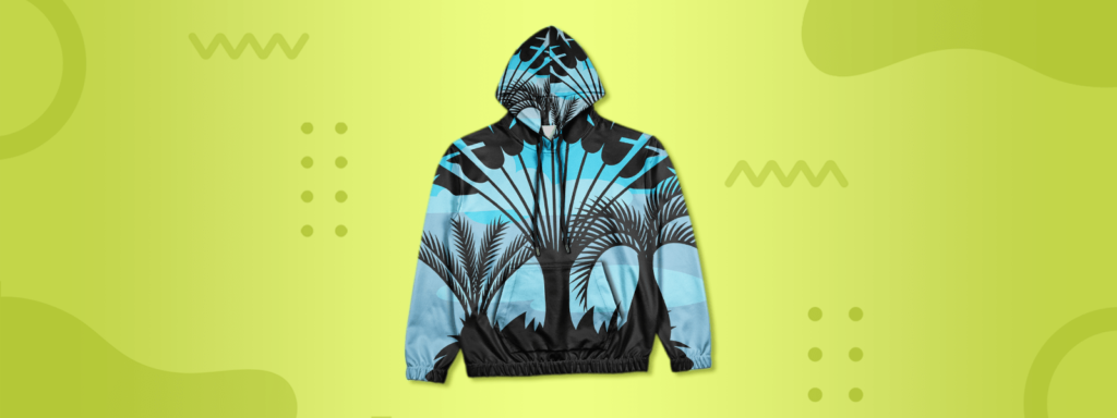 Flatlay of a palm design printed all over hoodie