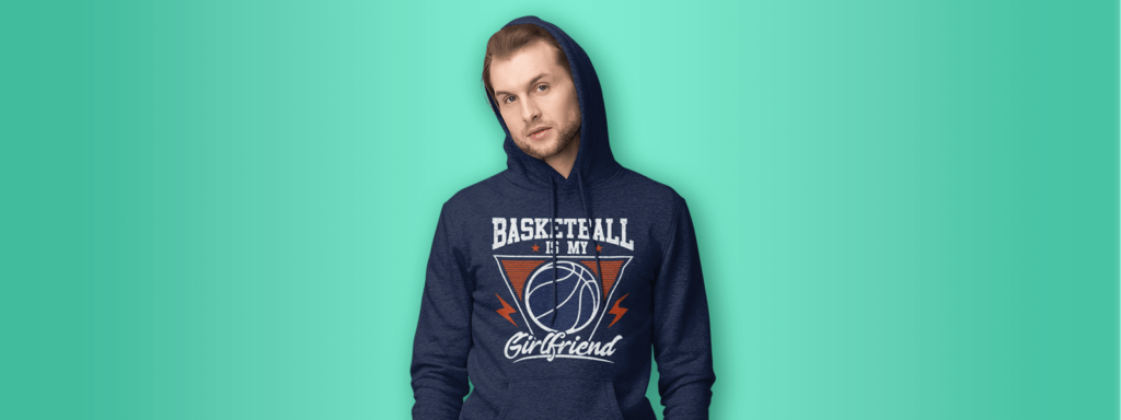 Man wearing basketball design hoodie
