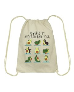 Powered by Avocado and Yoga Drawstring Bag