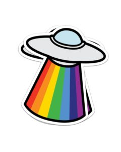Rainbow UFO Sticker
