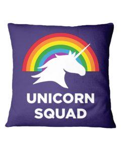Unicorn Squad Rainbow Square Pillowcase