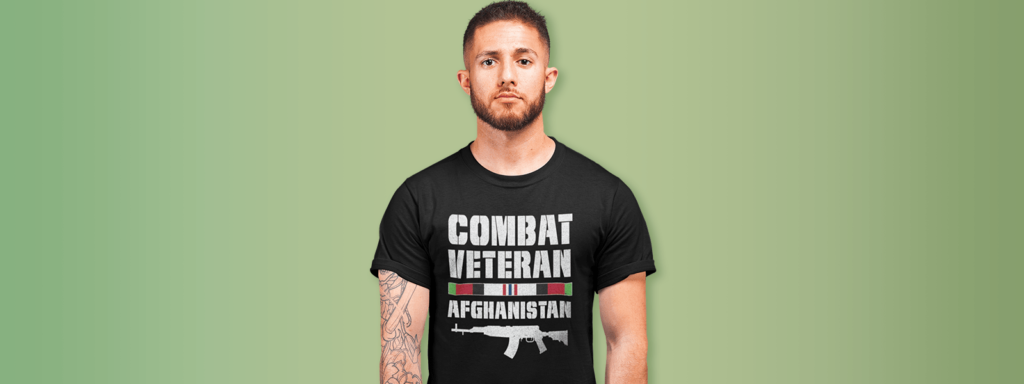 War Veteran wearing a veteran design tee