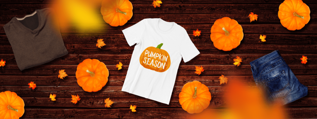 Autumn flat lay of a fall design tee
