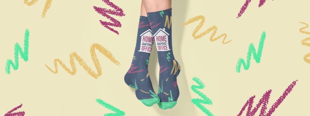 Feet wearing work from home design socks