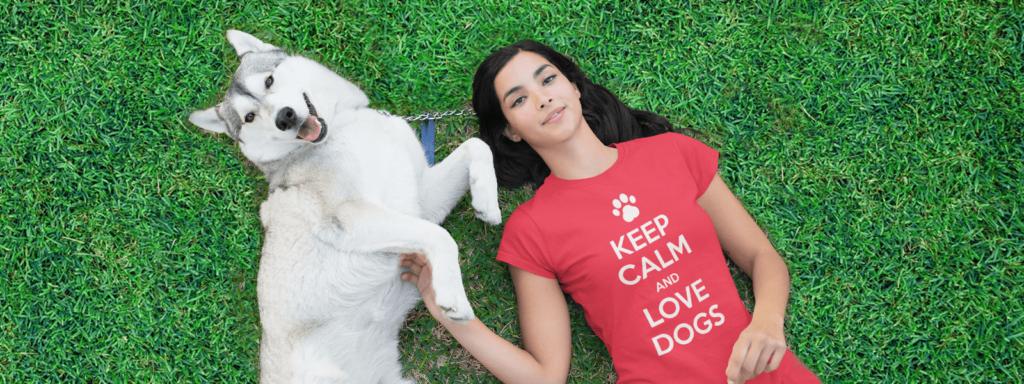 Girl with dog design tee with her husky