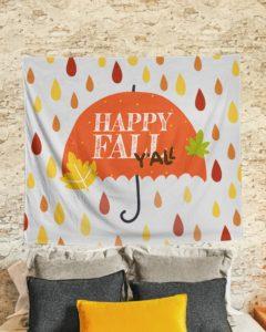 Happy fall ya'll Wall Tapestry