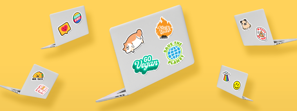 Laptops decorated with TeeChip stickers