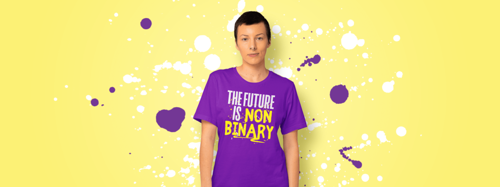 Non binary person wearing a non binary design tshirt