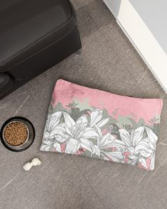 Pastel Pink with White Flowers Pet Bed