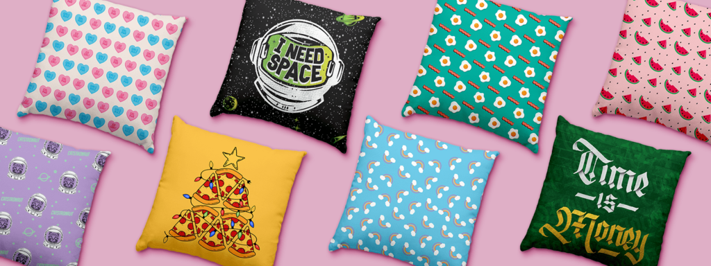 TeeChip pillows with different designs