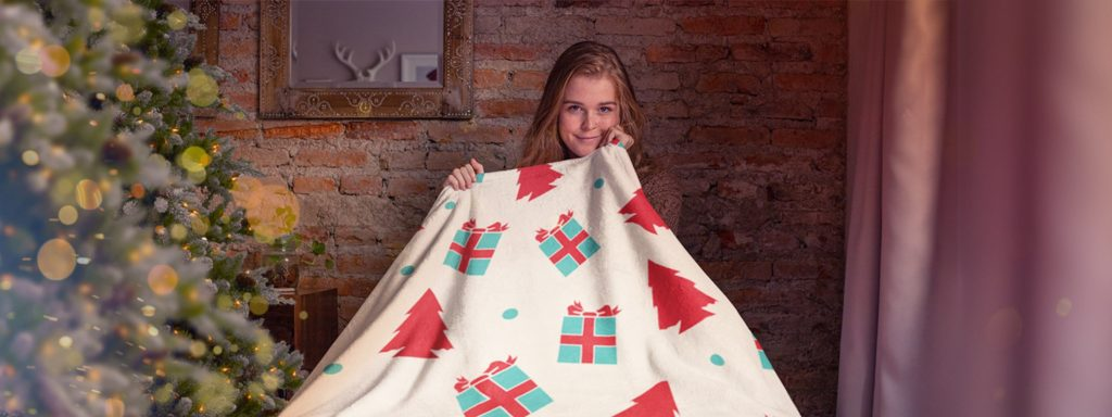 Girl Holding A Christmas Design Fleece Blanket