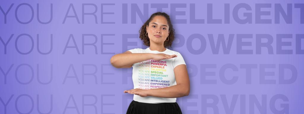 Girl wearing a Motivational Feminist Shirt
