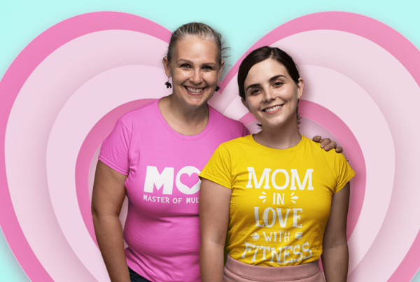 Mom and Daughter wearing Mom Designs Tees