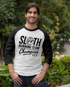 Sloth Running Team Champion Baseball Tee
