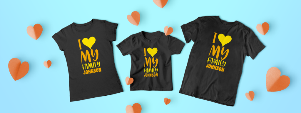 Three personalized shirts for family