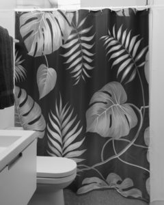 Black and White Plants Shower Curtain