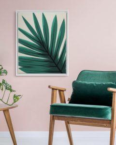 Green Leaf Floating Framed Canvas Prints White