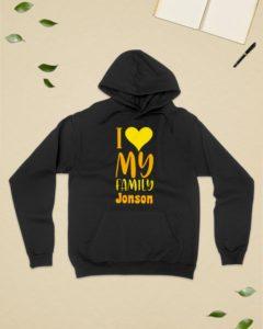 I Love My Family Jonson Personalized Design Hooded Sweatshirt
