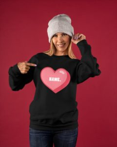 Pink heart personalized Crewneck Sweatshirt