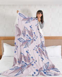 Rose Gold Plant Fleece Blanket