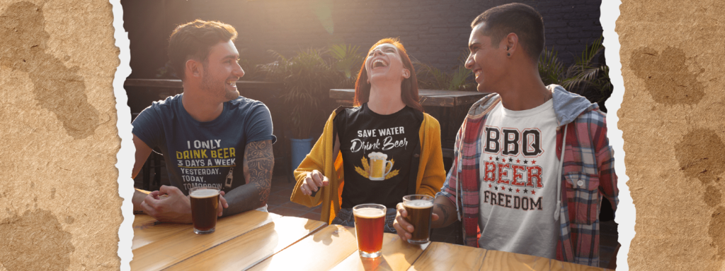 Friends wearing beer shirts celebrating National Drink Beer Day