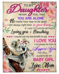 Koala To My Daughter Fleece Blanket