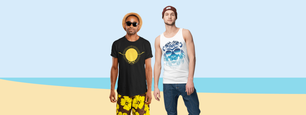 Two guys showing their Spring Break t-shirts