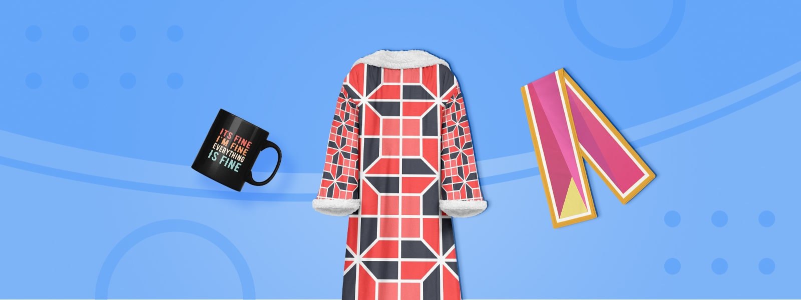 New Products Available: Sleeve Blanket, Fleece Scarf, Mugs